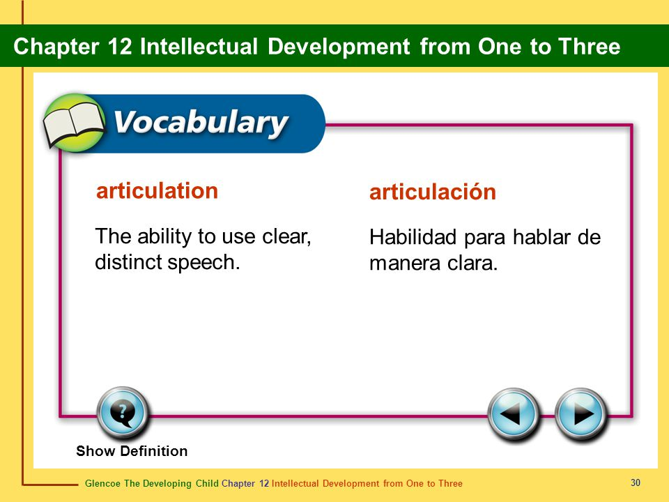 articulation articulación The ability to use clear, distinct speech.