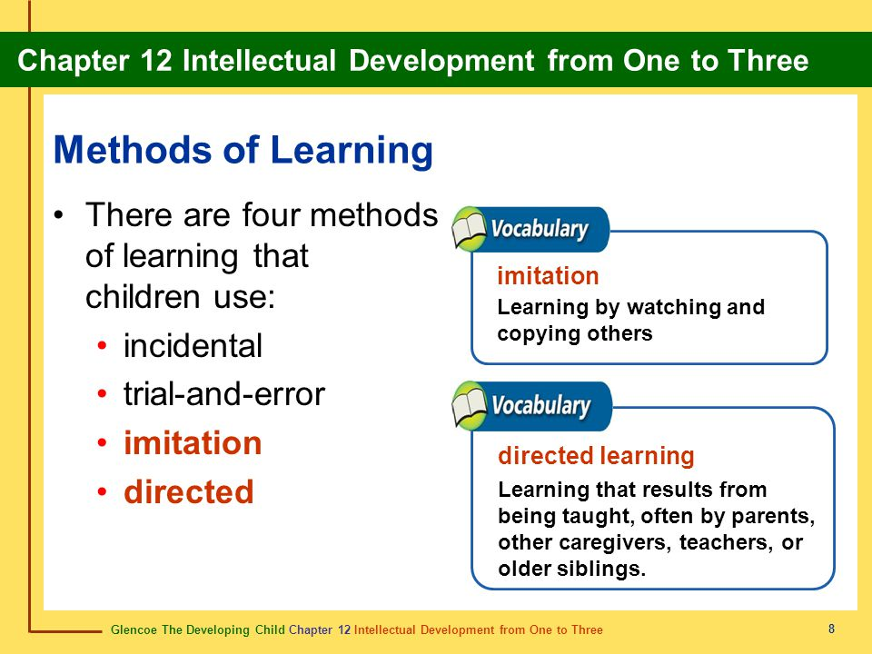 Methods of Learning There are four methods of learning that children use: incidental. trial-and-error.