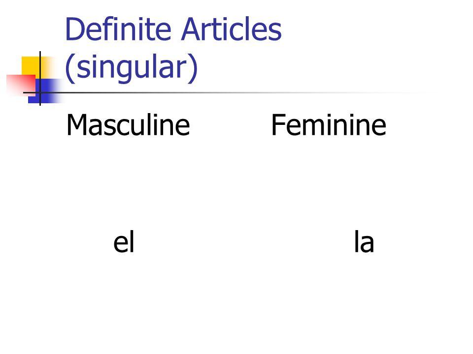 Definite Articles (singular)