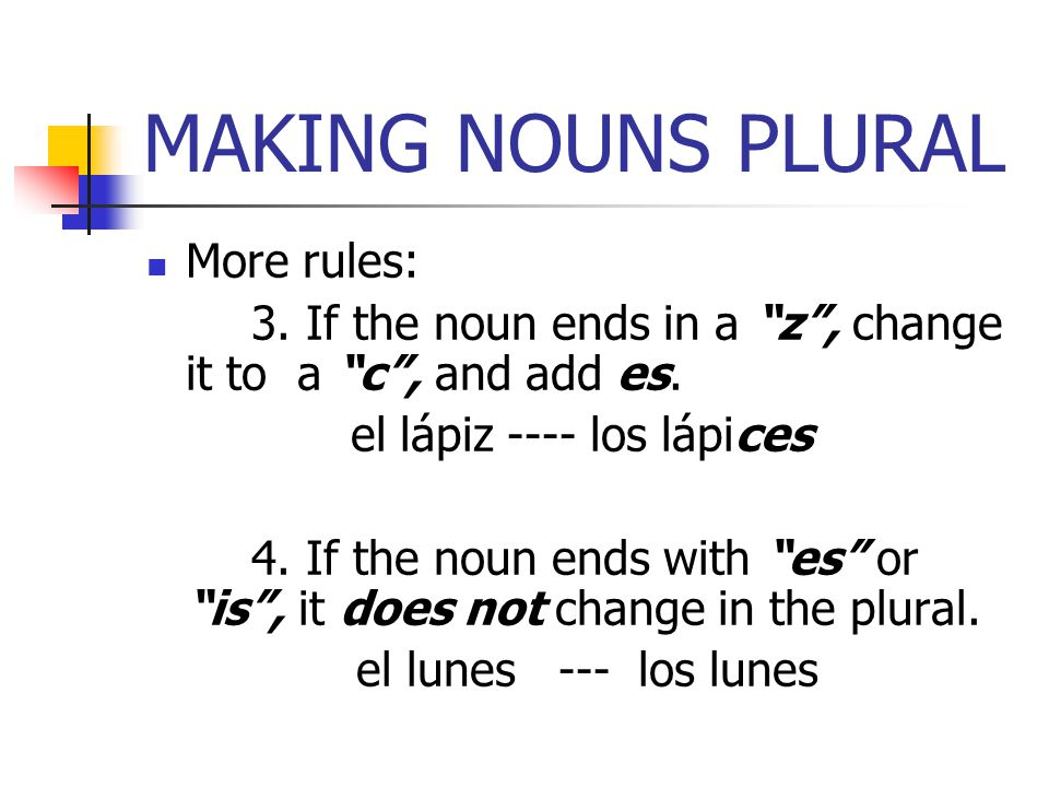MAKING NOUNS PLURAL More rules: