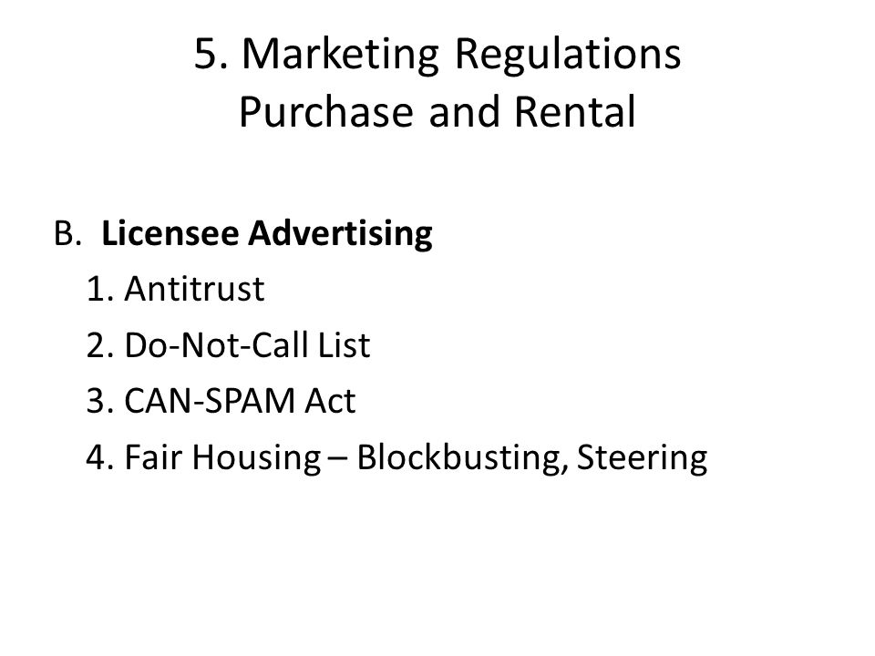 5. Marketing Regulations Purchase and Rental