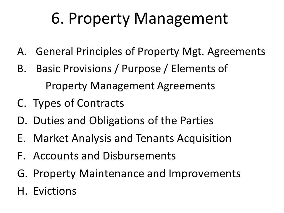 6. Property Management Types of Contracts