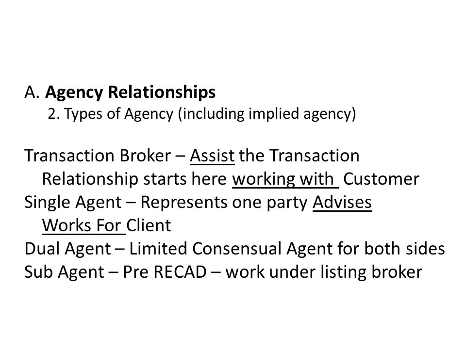 A. Agency Relationships