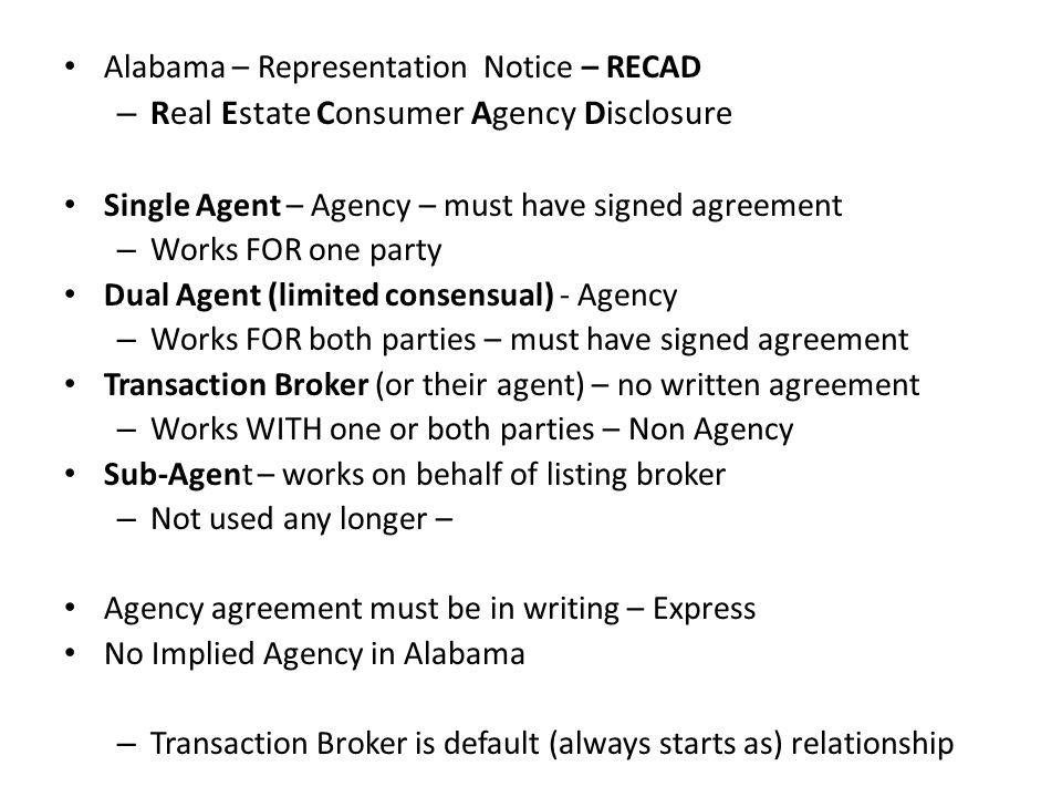 Real Estate Consumer Agency Disclosure