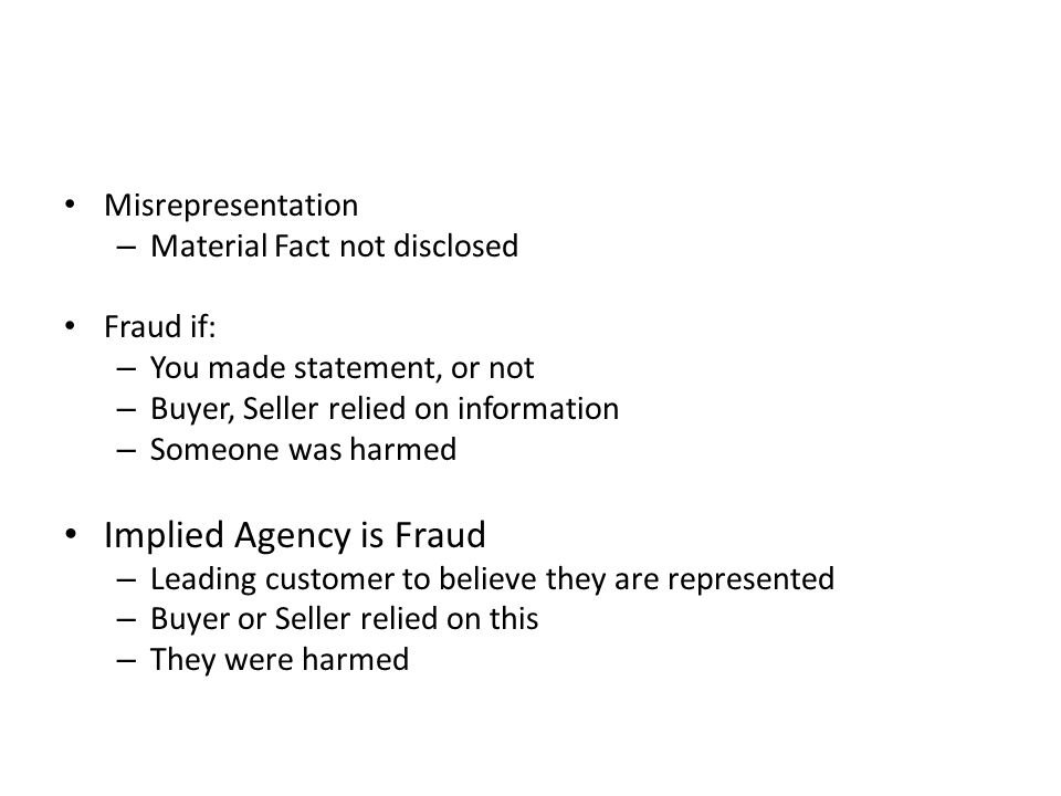 Implied Agency is Fraud