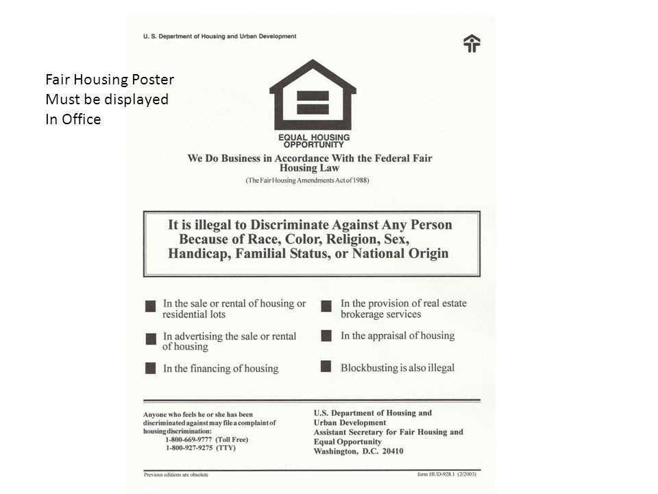 Fair Housing Poster Must be displayed In Office