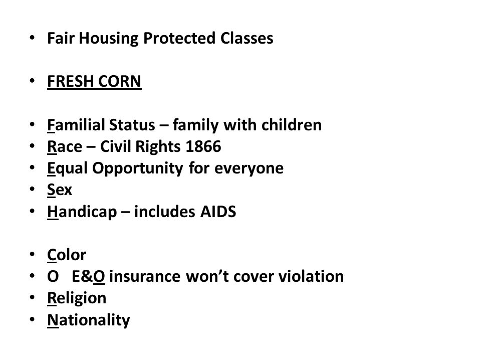 Fair Housing Protected Classes