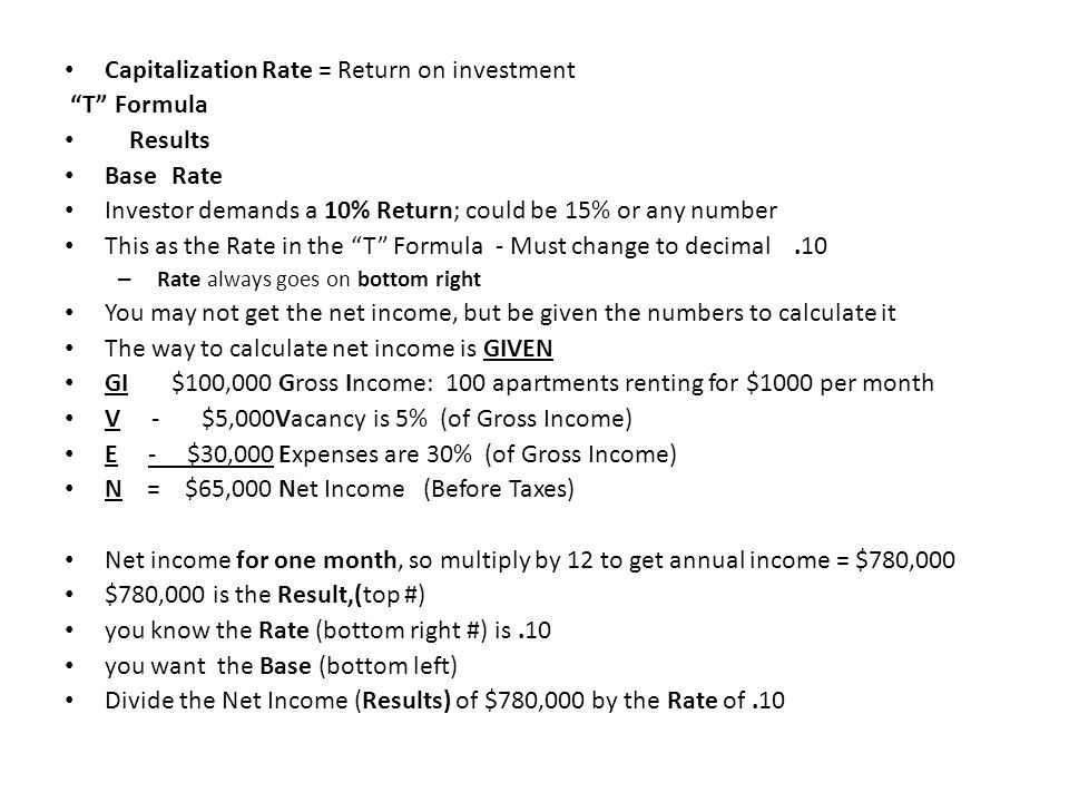 Capitalization Rate = Return on investment T Formula Results