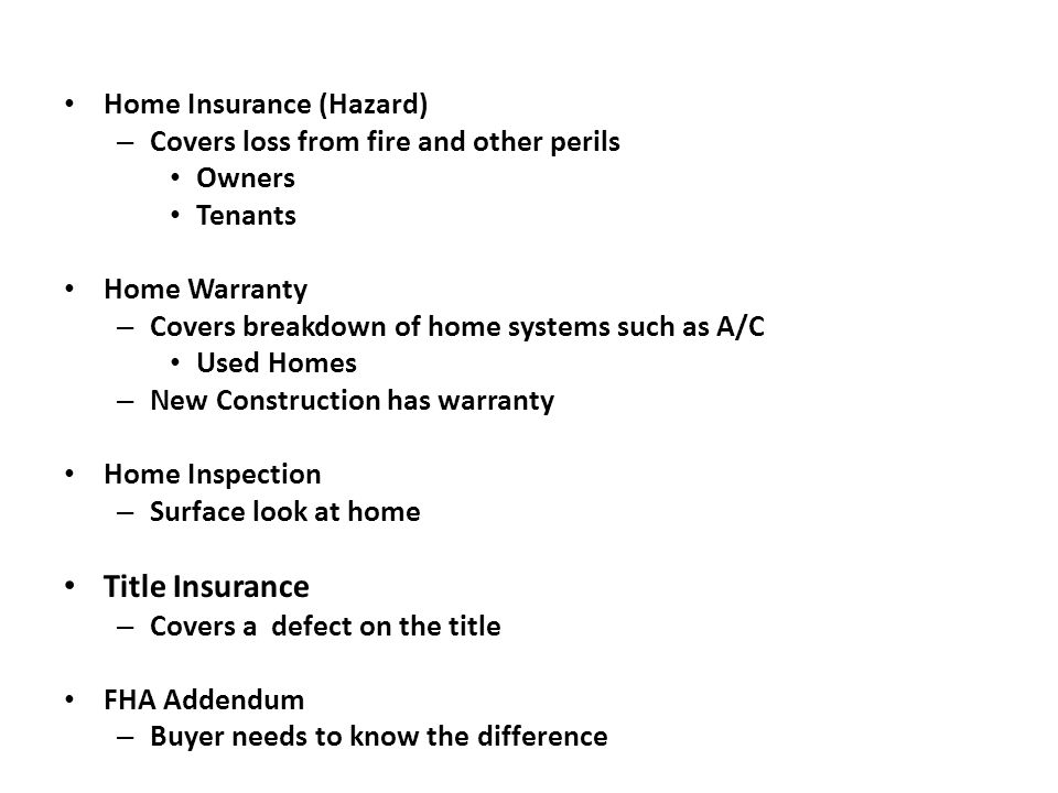 Title Insurance Home Insurance (Hazard)