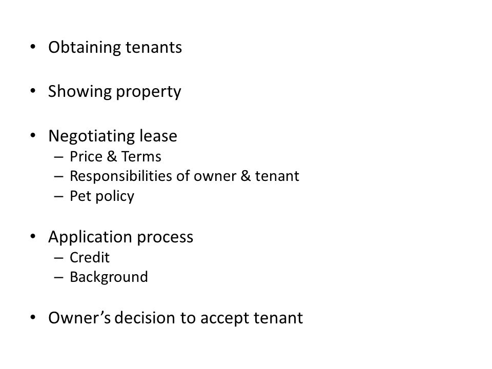 Owner's decision to accept tenant
