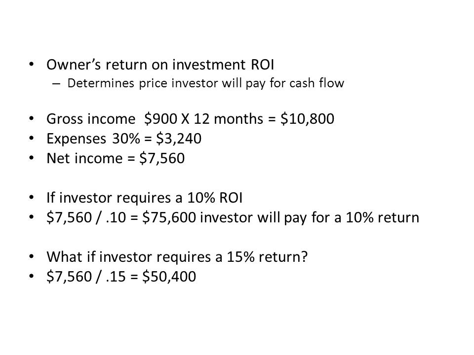 Owner's return on investment ROI