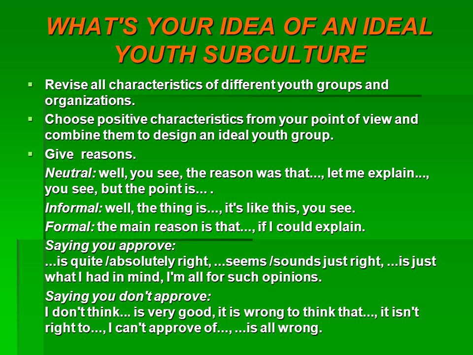 WHAT S YOUR IDEA OF AN IDEAL YOUTH SUBCULTURE