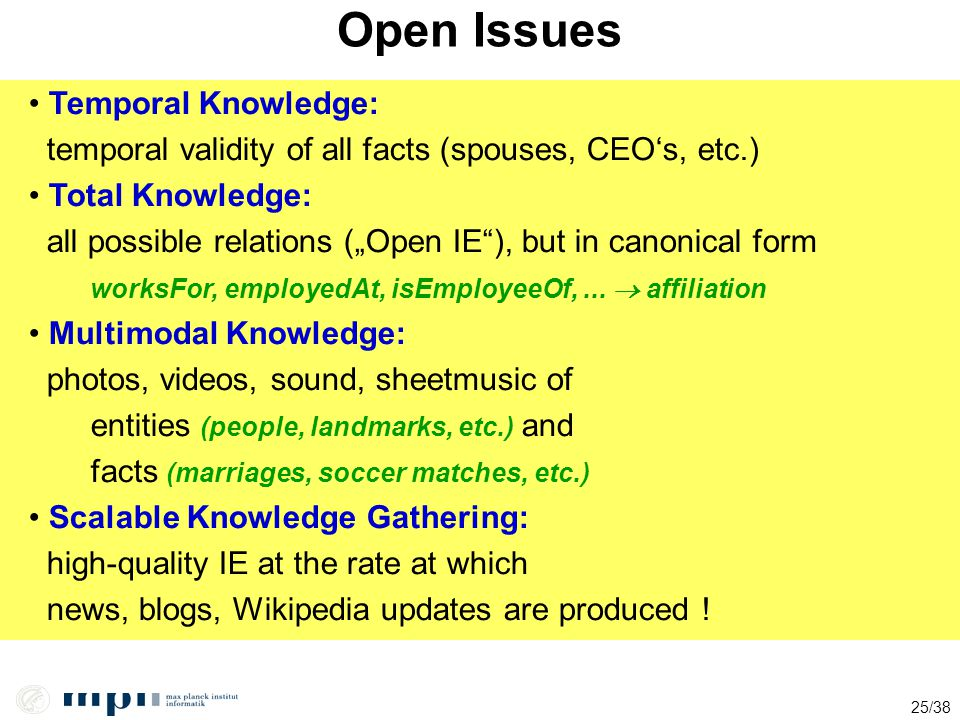 Open Issues Temporal Knowledge: