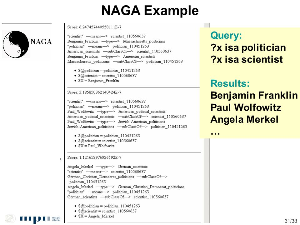 NAGA Example Query: x isa politician x isa scientist Results: