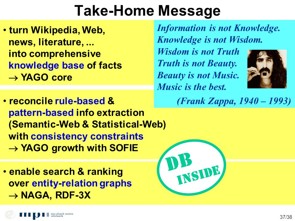 inside DB Take-Home Message Information is not Knowledge.