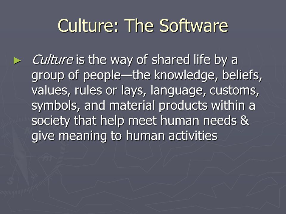 Culture: The Software