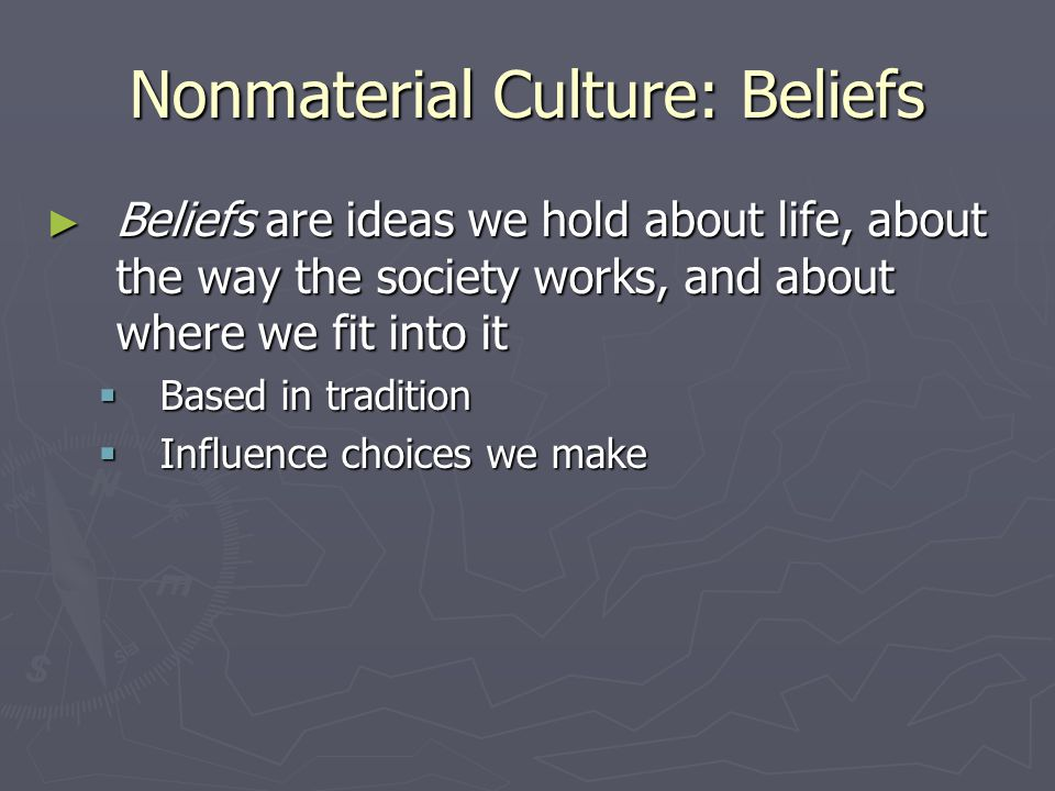 Nonmaterial Culture: Beliefs