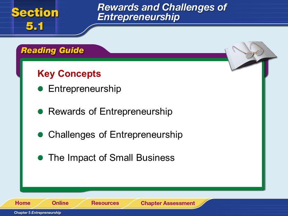 Key Concepts Entrepreneurship. Rewards of Entrepreneurship.