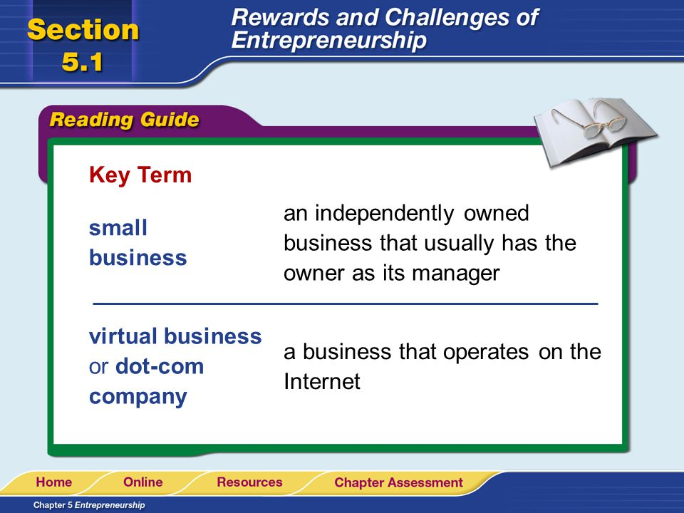 Key Term an independently owned business that usually has the owner as its manager. small business.