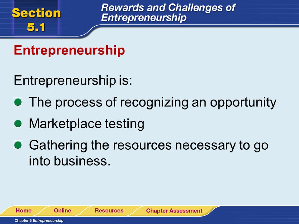 Entrepreneurship Entrepreneurship is: The process of recognizing an opportunity. Marketplace testing.