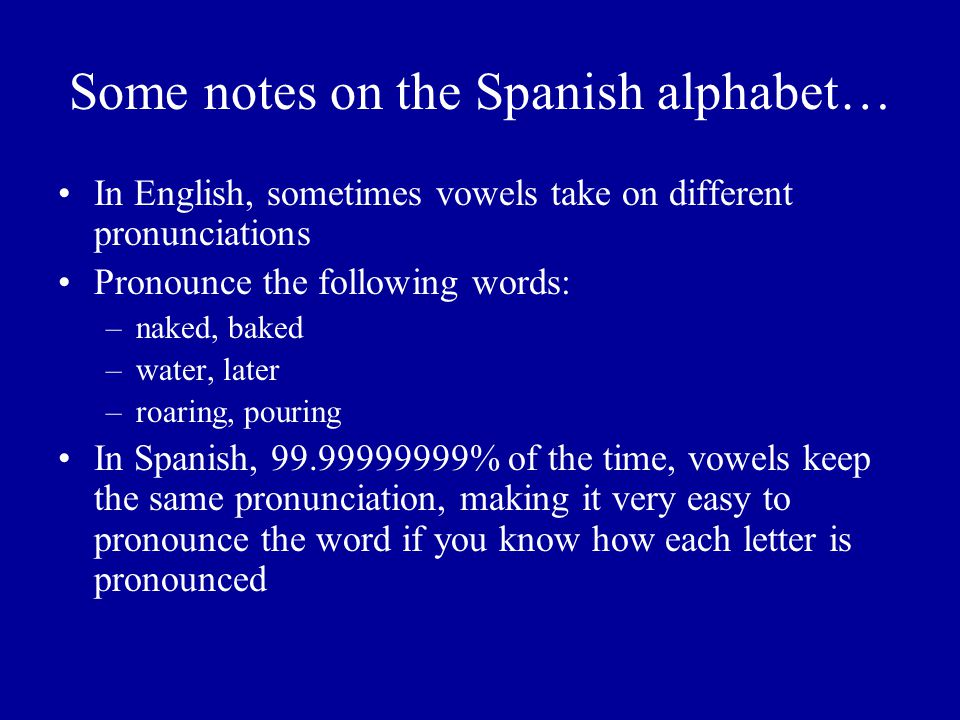 Some notes on the Spanish alphabet…