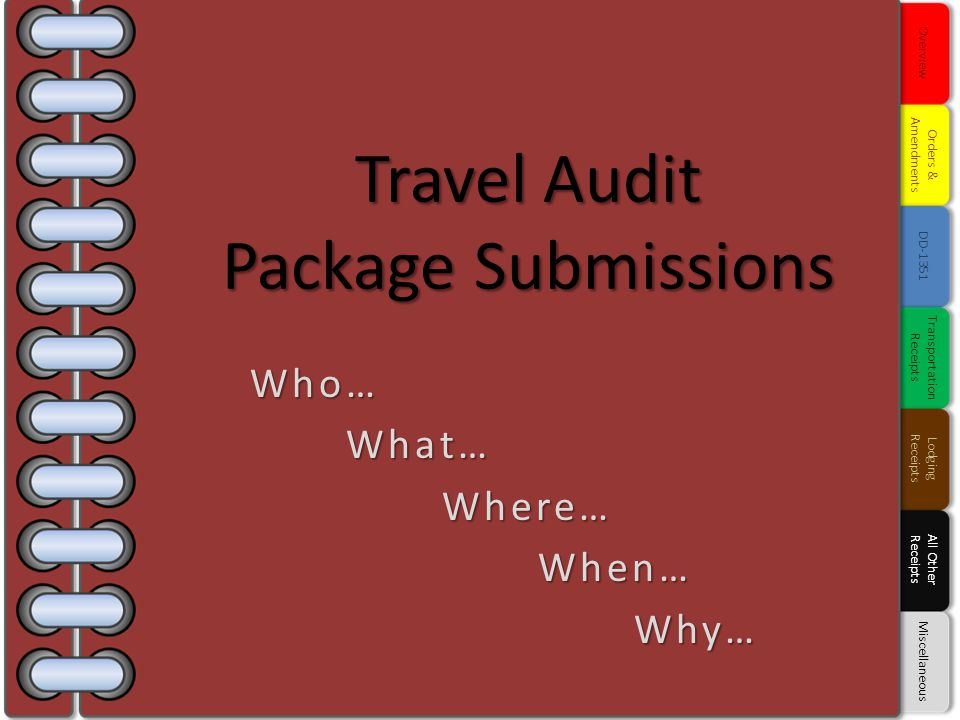 Travel Audit Package Submissions