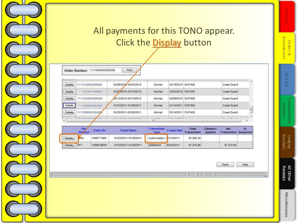 All payments for this TONO appear. Click the Display button