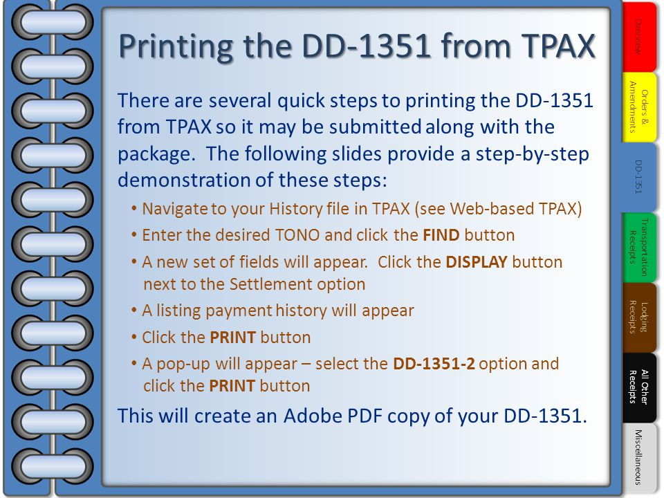 Printing the DD-1351 from TPAX