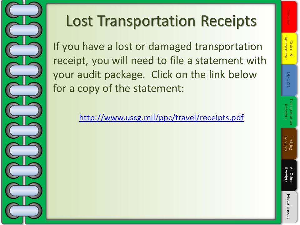 Lost Transportation Receipts