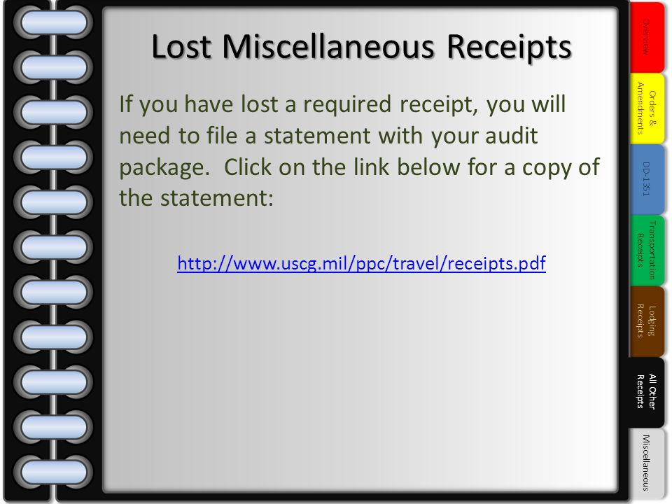 Lost Miscellaneous Receipts