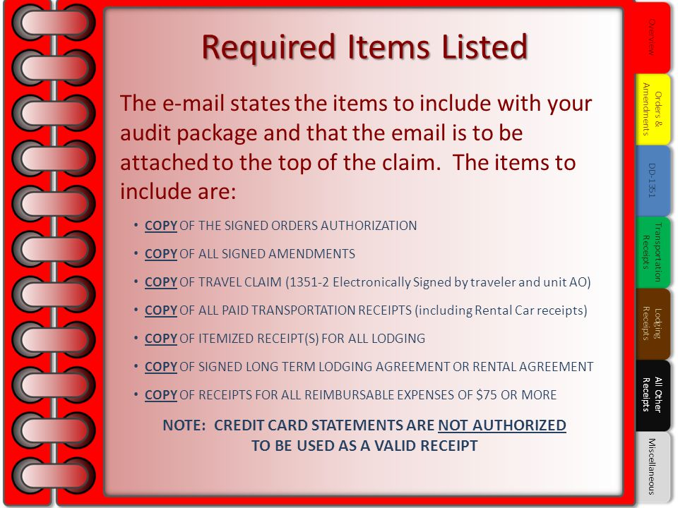 Overview Required Items Listed. Orders & Amendments.