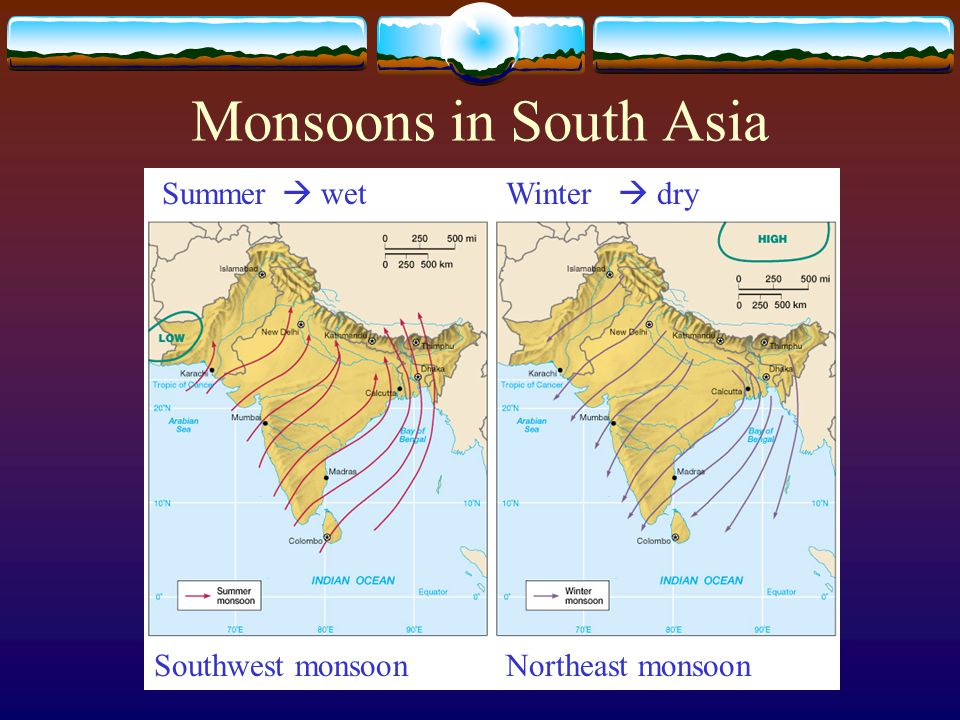 Monsoons in South Asia Summer  wet Winter  dry Southwest monsoon
