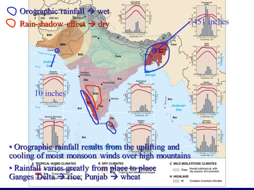 Orographic rainfall  wet