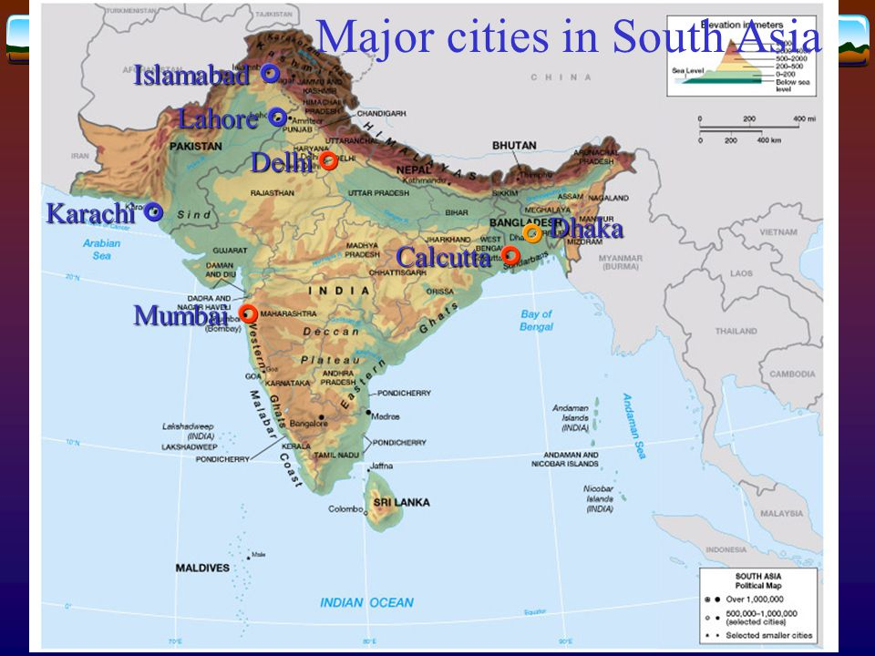 Major cities in South Asia