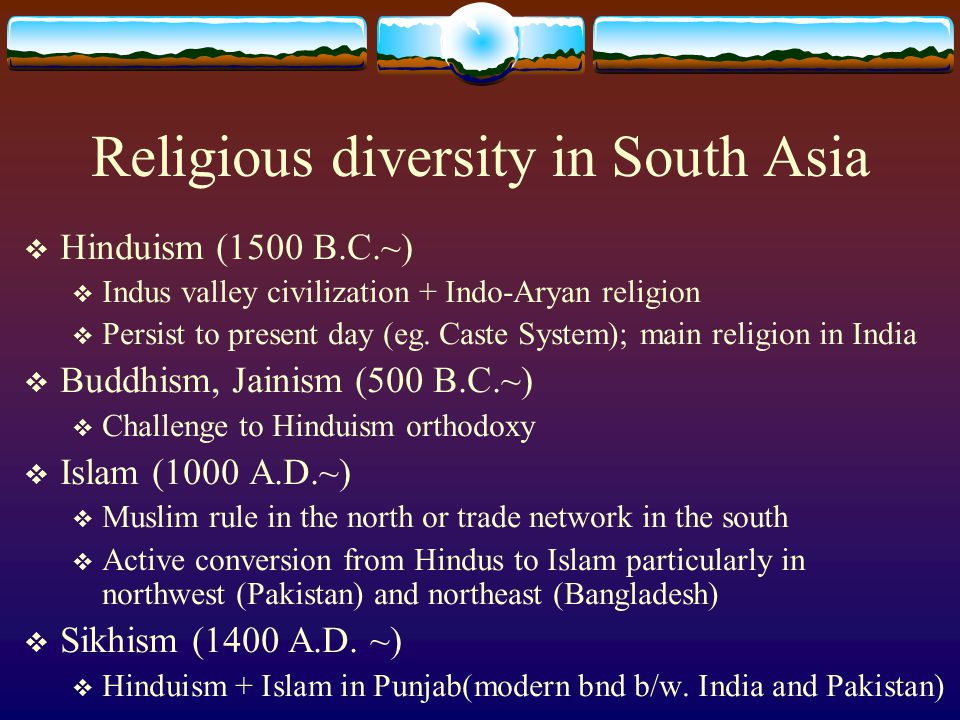 Religious diversity in South Asia