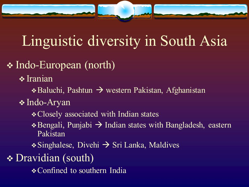 Linguistic diversity in South Asia