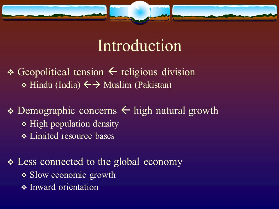 Introduction Geopolitical tension  religious division