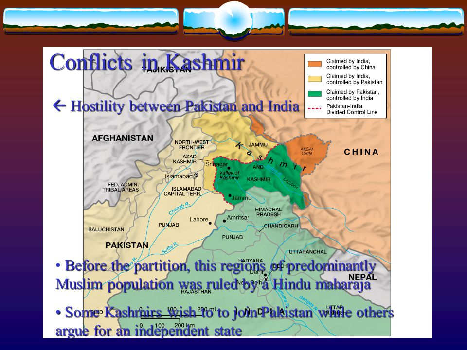 Conflicts in Kashmir  Hostility between Pakistan and India