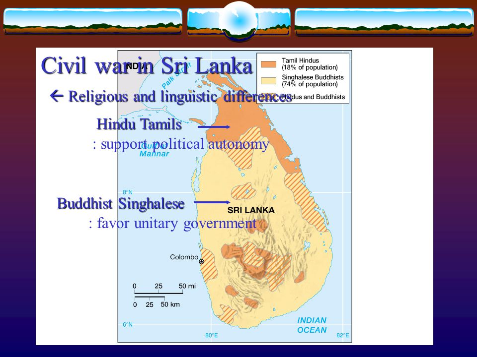 Civil war in Sri Lanka  Religious and linguistic differences