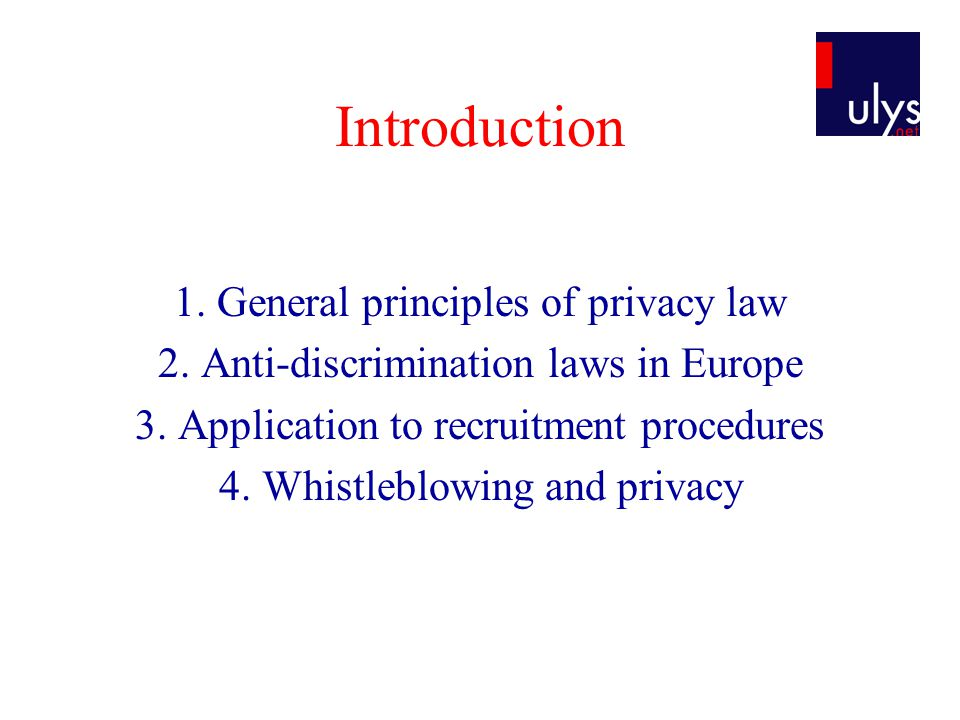 Introduction 1. General principles of privacy law