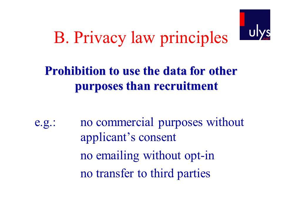 B. Privacy law principles