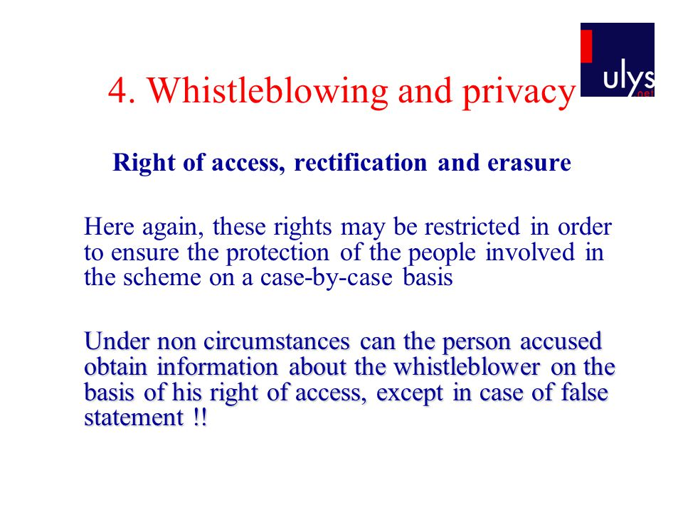 4. Whistleblowing and privacy