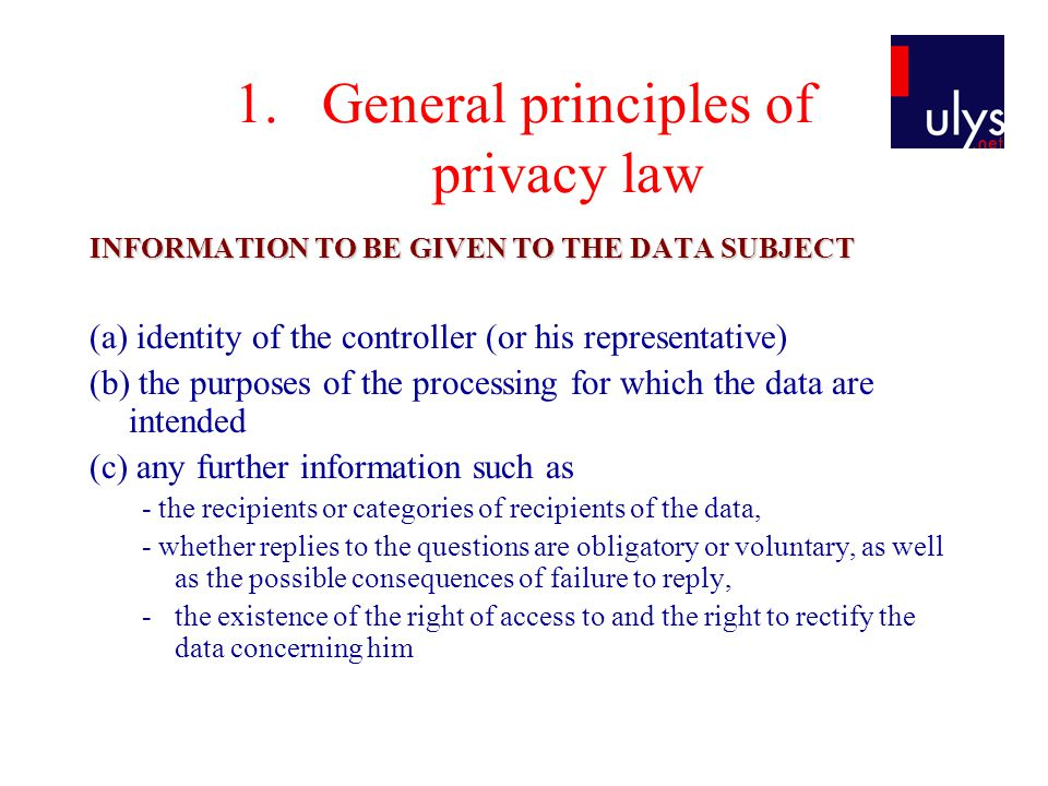 General principles of privacy law
