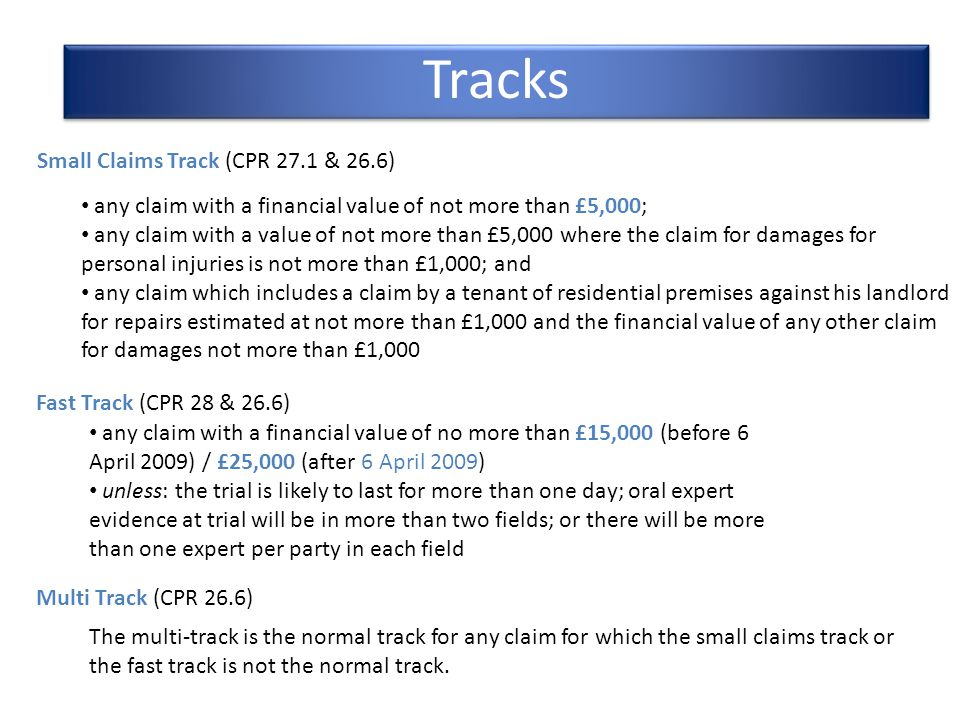 Tracks Small Claims Track (CPR 27.1 & 26.6)