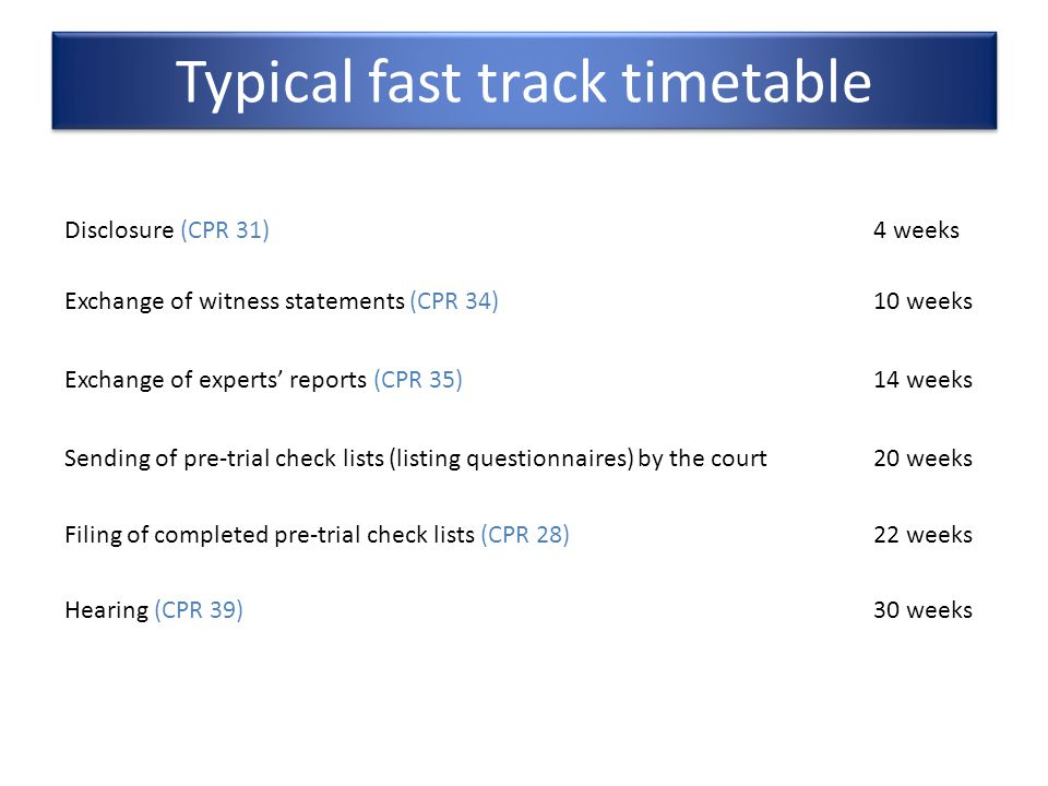 Typical fast track timetable