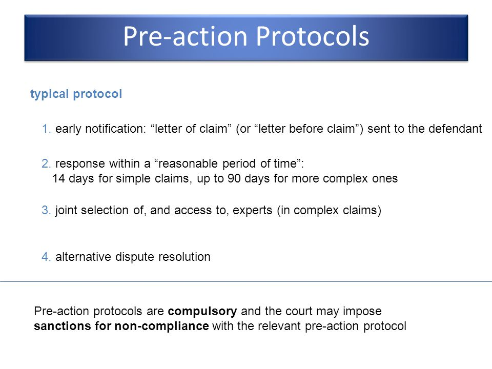 Pre-action Protocols typical protocol