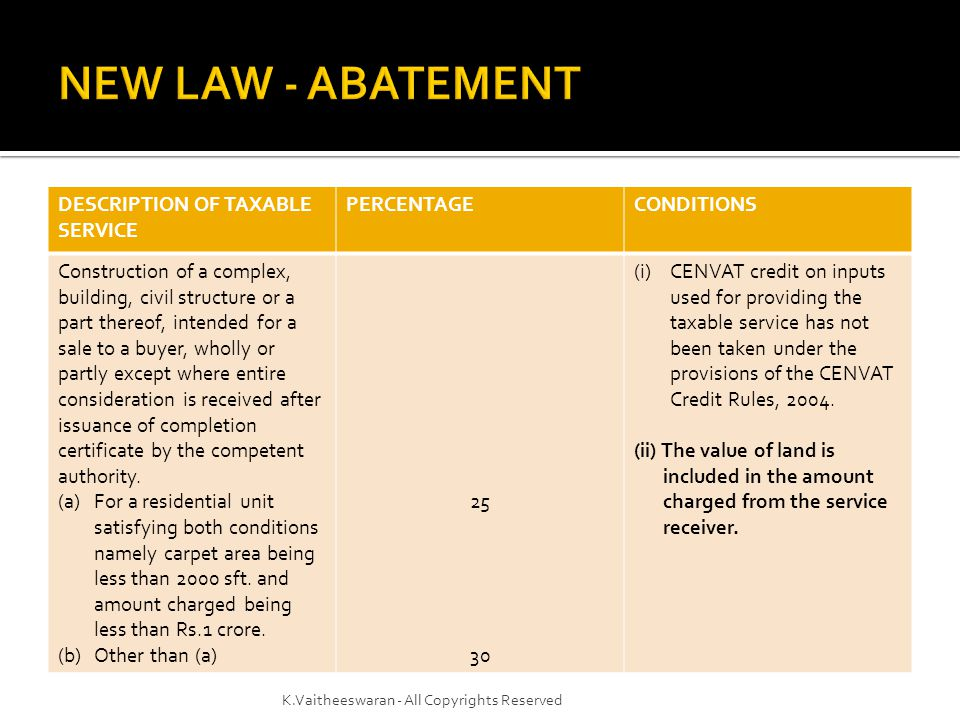 NEW LAW - ABATEMENT DESCRIPTION OF TAXABLE SERVICE PERCENTAGE