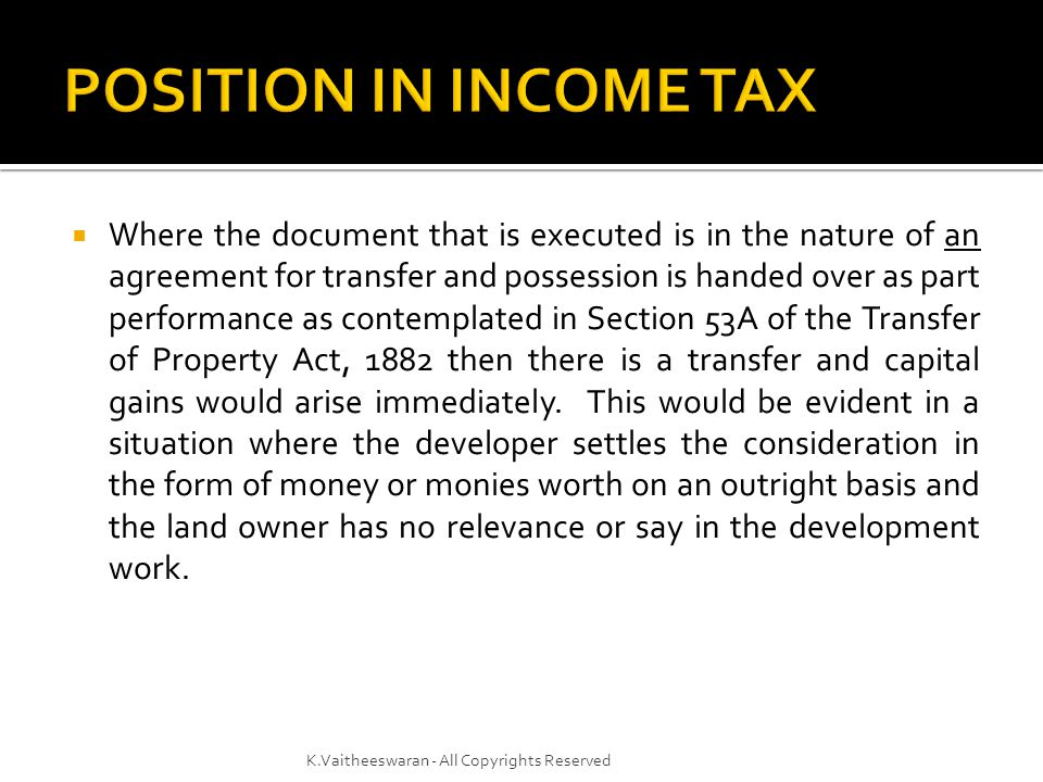 POSITION IN INCOME TAX