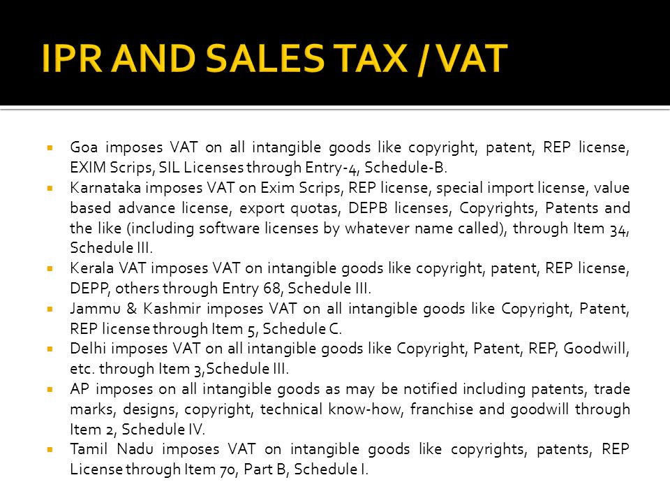 IPR AND SALES TAX / VAT