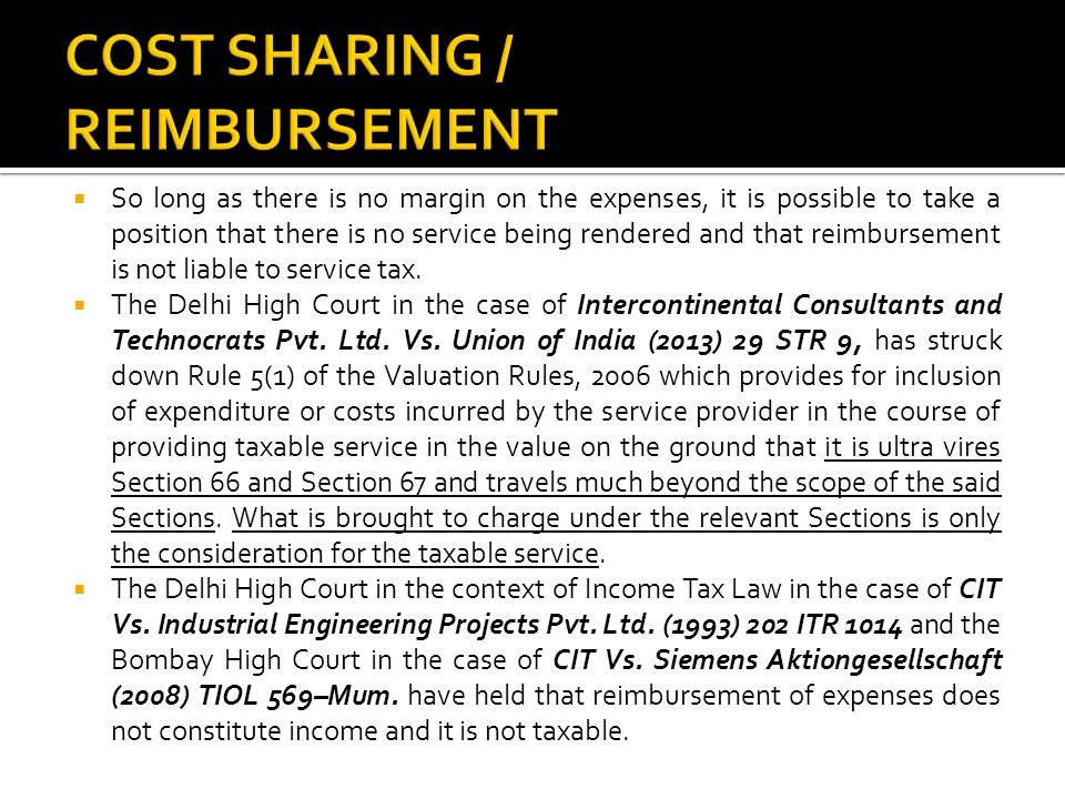 COST SHARING / REIMBURSEMENT